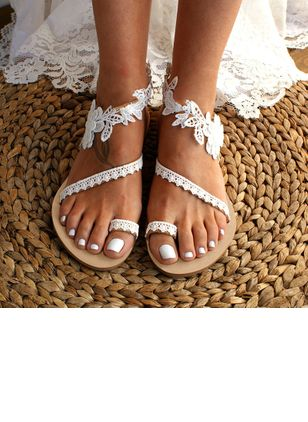 Women's Flower Toe Ring Lace Flat Heel Sandals