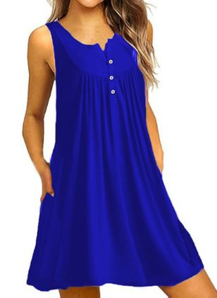 Casual Solid Ruffles Round Neckline A-line Dress (1516164)