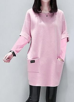 Cotton Solid Sweater Long Sleeve Shift Dress
