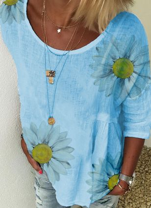 Floral Round Neck 3/4 Sleeves Casual T-shirts (146964134)