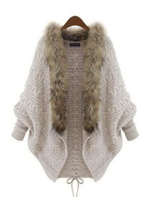 Long Sleeve V-neck Unremovable Fur Collar Sweaters Coats (131285314)