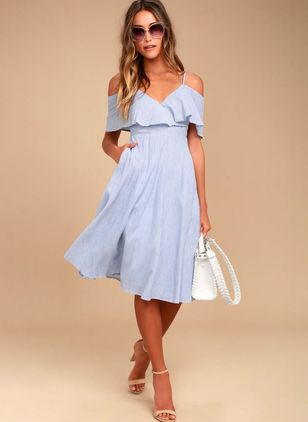 Solid Short Sleeve Knee-Length X-line Dress