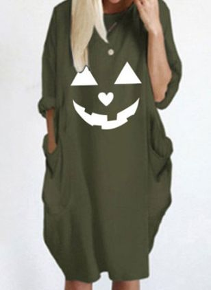 Halloween Animal Tunic Round Neckline O Dress (108859049)