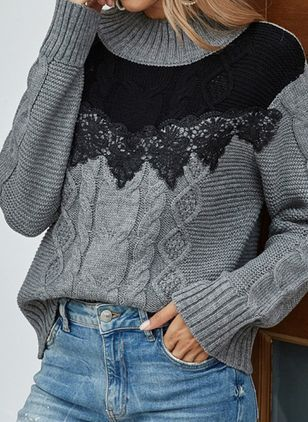 High Neckline Color Block Casual Loose Regular Lace Sweaters (107561785)