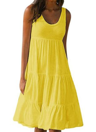 Casual Solid Tank Round Neckline A-line Dress (4089132)