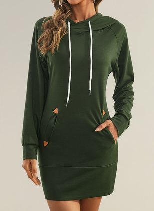 Basic Solid Sweatershirt Round Neckline Sheath Dress (146783416)