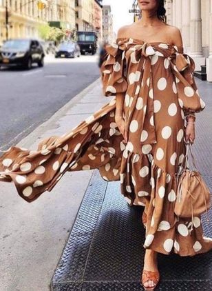 Polka Dot Off the Shoulder Long Sleeve Maxi A-line Dress