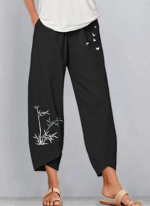 Casual Straight Pockets Mid Waist Polyester Pants (146904754)