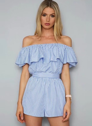 Polyester Stripe Short Sleeve Jumpsuits & Rompers