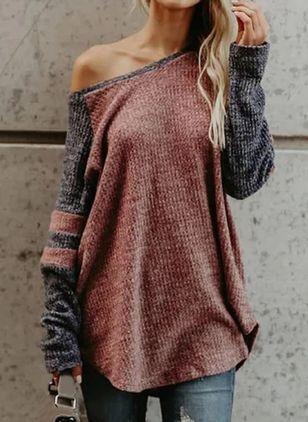 Oblique Neckline Color Block Casual Loose Regular Shift Sweaters (100037912)