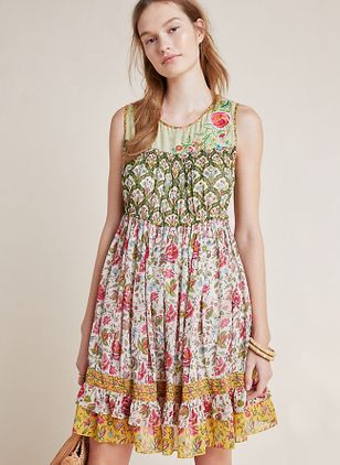 Floral Sleeveless Above Knee X-line Dress