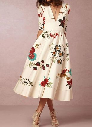 Casual Floral V-Neckline Midi X-line Dress (4457396)