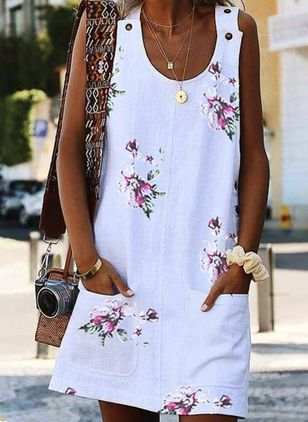 Casual Floral Tunic Round Neckline Shift Dress (146901458)