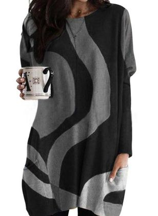 Casual Color Block Tunic Round Neckline Shift Dress (146718526)