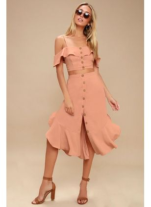 Solid Pockets Slip Midi X-line Dress