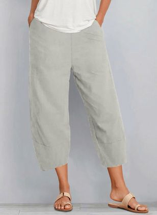 Casual Loose Pockets Mid Waist Polyester Pants (146945871)