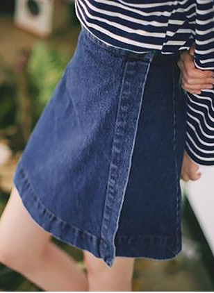 Denim Solid Above Knee Casual Skirts
