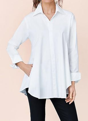 Solid Casual Collar Long Sleeve Blouses (100037992)