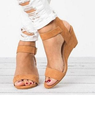Women's Buckle Slingbacks Wedge Heel Sandals