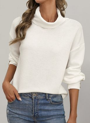High Neckline Solid Casual Loose Buttons Sweaters (146834204)