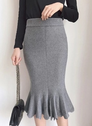 Cotton Solid Mid-Calf Casual Skirts