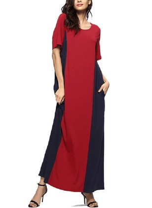 Polyester Color Block Long Sleeve Maxi Dresses