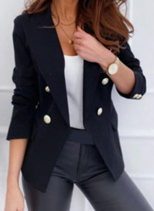 Long Sleeve Lapel Buttons Pockets Blazers (101987687)