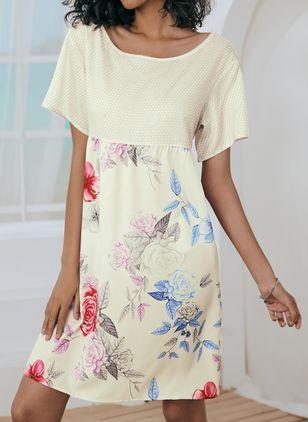 Casual Floral Tunic Round Neckline A-line Dress (147056593)