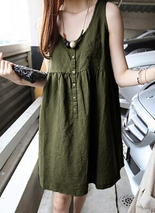 Solid Buttons Tank Sleeveless Shift Dress