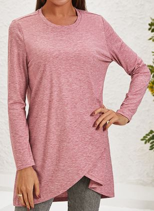 Solid Casual Round Neckline Long Sleeve Blouses (122028900)