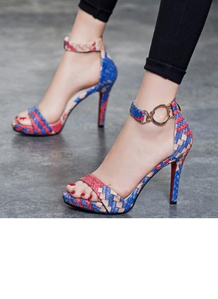 Women's Knit Leatherette Stiletto Heel Sandals