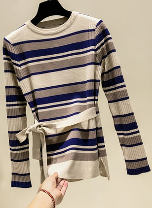 Round Neckline Color Block Tight Sashes Sweaters