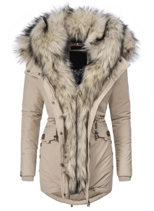 Long Sleeve Hooded Zipper Pockets Removable Fur Collar Parkas Coats (146700621)
