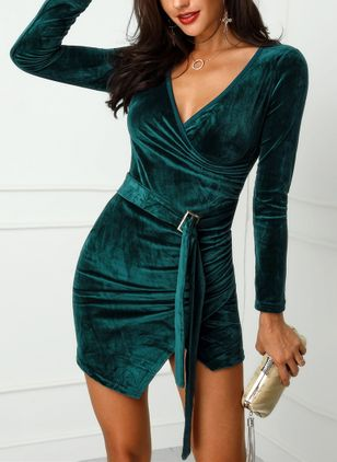 Solid Long Sleeve Mini Bodycon Dress