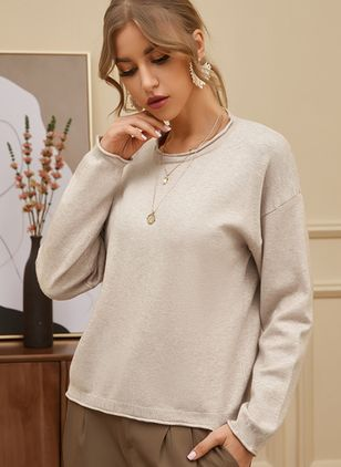 Round Neckline Solid Casual Loose Regular Shift Sweaters (107423186)