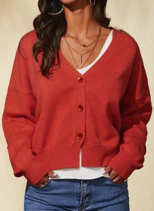 V-Neckline Solid Casual Regular Shift Sweaters (1431397)