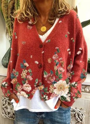 Long Sleeve V-neck Buttons Sweaters Coats (146842024)