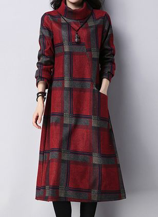 Casual Plaid Tunic High Neckline A-line Dress (146840310)