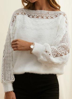 Round Neckline Solid Vintage Loose Regular Lace Hollow Out Sweaters (146775075)