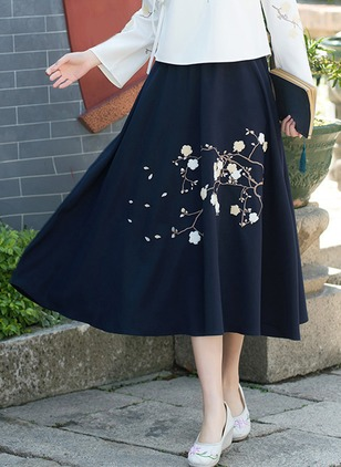 Cotton Linen Floral Mid-Calf Casual Skirts