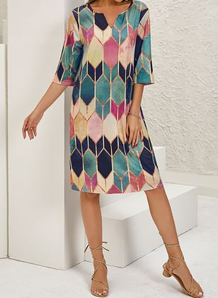Casual Geometric Tunic V-Neckline A-line Dress (122029223)