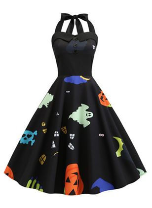 Halloween Color Block Halter Neckline Midi X-line Dress (109973593)