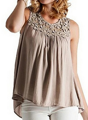Solid Casual Cotton Round Neckline Sleeveless Blouses