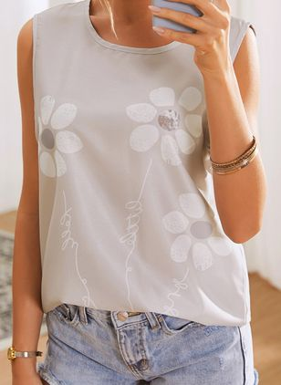 Floral Casual Round Neckline Sleeveless Blouses (4458414)
