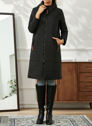 Long Sleeve Hooded Pockets Padded Coats (146909390)