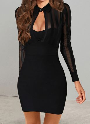 Sexy Solid Pencil Round Neckline Bodycon Dress (146876962)