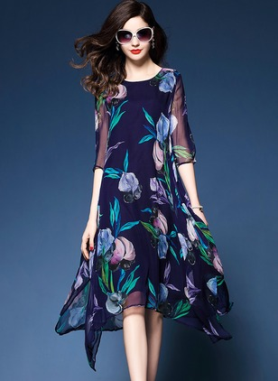 Cotton Floral 3/4 Sleeves Midi Shift Dress