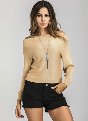 Polyester Strapless Neckline Solid Tight None Sweaters