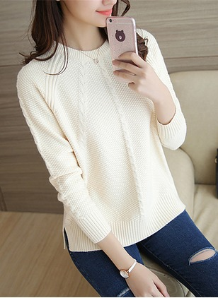 Acrylic Round Neckline Solid Tight None Sweaters