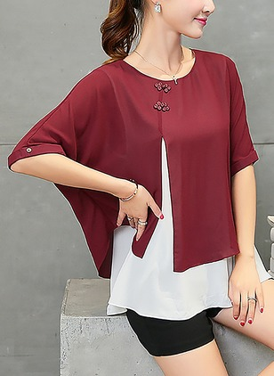 Color Block Casual Polyester Round Neckline Half Sleeve Blouses